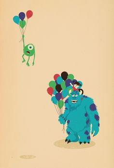 Mike Wazowski by Jay Fleck I just want a wall of cute Disney prints in my house =)