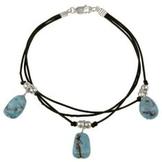 Sterling Silver Created Turqoise Stones & Beads on Leather Cord Bracelet SilverSpeck. Save 63 Off!. $14.99