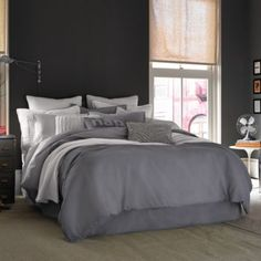 Kenneth Cole Reaction Home Mineral Linen/Cotton Duvet Cover in Gunmetal - BedBathandBeyond.com