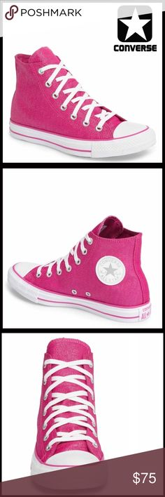 ❗️1-HOUR SALE❗️CONVERSE SNEAKERS Shimmer High Tops CONVERSE SNEAKERS Stylish Shimmer High Tops *NEW IN BOX* AUTHENTIC * SIZING-Women's Sizes  COLOR- Pink , white   * Round rubber cap toe * Lace-up closure * Contrast stitching  * Lightly padded footbed & textured grip sole * Allover shimmering glamorous canvas construction MATERIAL Textile upper, textile, rubber sole  ❌NO TRADES❌ ✅BUNDLE DISCOUNTS✅ OFFERS CONSIDERED ITEM#C95800 SEARCH # All Star Hi Top Chuck Taylor flatform wedge glam…