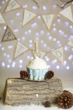 Cake Smash Photo Session Inspiration First Birthday Rustic Natural Pine Cones Winter Snow Cupcake White Brown Jute Hessian Bunting Log Studio Lifestyle Location Kirra Photography Baby Cake Smash, 1st Birthday Cake Smash, 1st Birthday Photos, Baby Boy Birthday, Birthday Ideas, Baby Shower Oso, 1st Year Cake, Twins 1st Birthdays, Cake Smash Photography