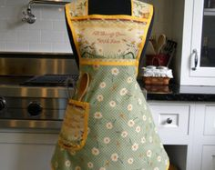 Daisies and Dragonflies Retro-Style Apron