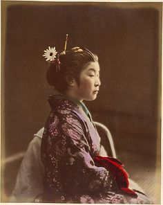 Tea House waitress  Shinichi Suzuki  (Japanese, 1835–1919)  Date: 1870s Medium: Albumen silver print from glass negative