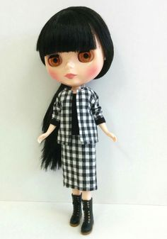 Black/White Checkered Blazer and Skirt  with by SKSungDesigns