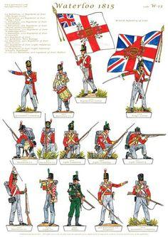 British Army at Waterloo Military Figures, Military Weapons, Military Art, Military History, British Army Uniform, British Uniforms, Waterloo 1815, Battle Of Waterloo, Bataille De Waterloo