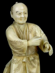 Currently at the #Catawiki auctions: Ivory Okimono figure of farmer signed Toshihisa - Japan - late 19th / early 2...
