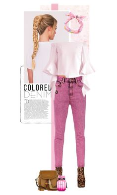 """Colored Denim"" by pippi-loves-music ❤ liked on Polyvore featuring Marc Jacobs, Chicwish, Chloé, Victoria's Secret, Maison Michel, Balmain and coloredjeans"