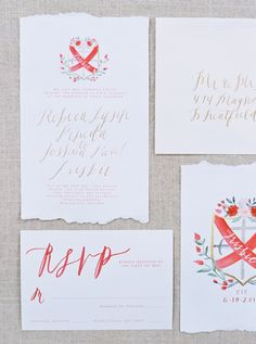Cherry red family crest inspired wedding invitations: http://www.stylemepretty.com/2015/12/28/classic-garden-wedding/ | Photography: Lauren Balingit - http://laurenbalingit.com/