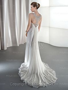 Sheath/Column Straps Chiffon Chapel Train White Beading Wedding Dresses at Millybridal.com