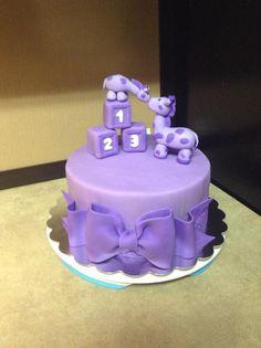 Purple Giraffe Baby Shower Cake