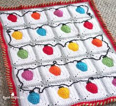 Crochet Christmas Lights Blanket