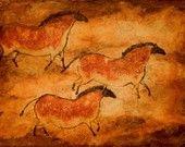Cave Art Series--Three Ponies print of prehistoric, primitive horses, paleolithic drawings. Art Pariétal, Lascaux, Chauvet Cave, Paleolithic Art, Stone Age Art, Cave Drawings, Art Ancien, Drawing Wallpaper, All Nature