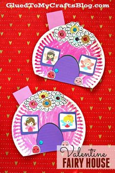 Paper Plate Valentine Fairy House - Kid Craft Idea - includes a FREE PRINTABLE TEMPLATE to get you started valentine paper plate crafts paper plate crafts for kids easter pig paper plate craft Arts And Crafts For Teens, Art And Craft Videos, Arts And Crafts House, Easy Arts And Crafts, Crafts For Girls, Arts And Crafts Projects, House Projects, Toddler Crafts, Preschool Crafts