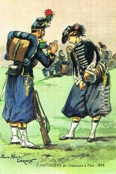 A soldier & cantinière of a regiment of chasseurs à pied during the Second Empire of Napoleon III, at the time of the war in Italy (1859). The chasseurs à pied were a type of light infantry trained to move rapidly into combat. They were known for their high morale, which made generals tend to use them as shock troops.