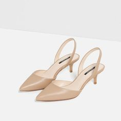 Zahra's Checklist: 10 Shoes I Want From Zara Right Now! Medium Heel Shoes, Mid Heel Shoes, Ankle Strap High Heels, Slingback Shoes, Hot High Heels, Womens High Heels, Women's Pumps, Zara, Kitten Heel Shoes