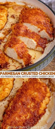 Parmesan Crusted Chicken that's a kid friendly, healthy easy weeknight meal with a crispy cheesy crust in 45 minutes and only 1 pan and 1 bowl to clean up! meals for dinner Ultimate Parmesan Crusted Chicken mins prep!) - Dinner, then Dessert Easy Chicken Recipes, Keto Chicken, Kid Friendly Chicken Recipes, Chicken And Cheese Recipes, Rotisserie Chicken, Turkey Recipes, Baked Chicken, Chicken Crust Recipe, Parmesan Crusted Chicken Easy