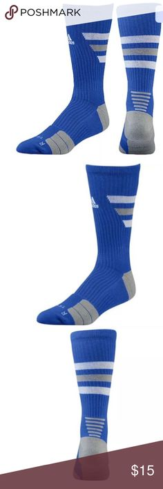 Men's Adidas Crew Team Speed Traxion Socks ADIDAS Team Speed Traxion  Crew Socks Size: Medium  Men's  6.5 - 9     Women's 7 -10  Support intense workouts with 3-Stripes® style. Featuring a TraXion™ footbed, the adidas Team Speed Traxion Crew Sock  adds cushioning and enhances traction to support your feet during a serious gym session.  ClimaLite® moisture-wicking  ForMotion® anatomically shaped 'Left / Right' footbed promotes natural foot movement.  59% Acrylic 20% Nylon 17% Polyester 3%…