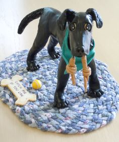 polymer clay dog statue approximately 5 to 7 in size by huskadoo, $50.00