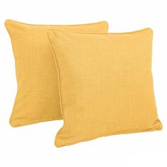 Blazing Needles 18-inch All-weather Throw Pillow (Set of 2) (Lemon (REO-SOL-03)), Yellow (Fabric, Solid), Outdoor Cushion