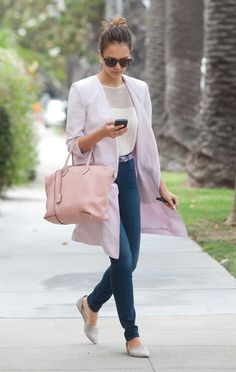 10 Celebrity-Fave Handbags to Carry All Your Essentials in Style This Summer -- Jessica color coordinated her oversize pink Louis Vuitton work bag with a long blazer and belt for a SoCal business-casual outfit. http://conecptbag.tumblr.com/