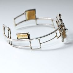 Grid bracelet sterling silver and brass plates by doronmerav, $190.00