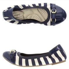 Nautical Look White and Blue Stripes Flats size 7 Brand new condition never worn flats by DexFlex size 7 perfect for the beach or vacation getaways (not mentioned brand just for to get them out there) Zara Shoes Flats & Loafers