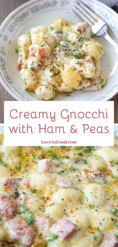 Creamy Gnocchi with Ham and Peas Pillows of gnocchi paired with salty ham and creamy gruyere cheese sauce? What's not to like about creamy gnocchi with ham and peas? Italian Pasta Recipes, Gnocchi Recipes, Pork Recipes, Cooking Recipes, Healthy Recipes, Italian Foods, Pasta Dishes, Food Dishes, Fettucine Alfredo