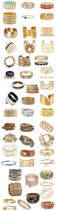 Over 50 AMAZING Bangles - the Chanel bangles, the Tory Burch gold bangels, and the large link at the very top left - I want! :)