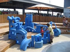 """""""Blue foam building blocks allow kids to create structures and interact with other children at the Imagination Playground"""" The Imagination Playground, David Rockwell's, New York City Playground Design, Outdoor Playground, Outdoor Toys, Playground Ideas, Foam Building Blocks, Building Toys, Play Spaces, Kid Spaces, Outdoor Play Structures"""