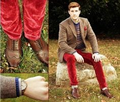 Shop this look for $656:  http://lookastic.com/men/looks/blazer-and-pocket-square-and-crew-neck-sweater-and-jeans-and-brogues-and-socks-and-longsleeve-shirt/35  — Brown Wool Blazer  — Red Pocket Square  — Navy Fair Isle Crew-neck Sweater  — Red Velvet Jeans  — Dark Brown Leather Brogues  — Grey Socks  — Grey Longsleeve Shirt
