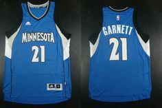 """$23.88 at """"MaryJersey""""(maryjerseyelway@gmail.com) Timberwolves 21 Kevin Garnett Blue Road Stitched NBA Jersey"""