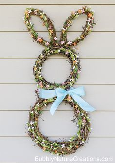 Bunny Wreath Tutorial! {Easter Craft Ideas}  You will want to make a few of these because everyone will want one!  Video tutorial also included from bubblynaturecreations.com