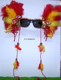 Kansas City Chiefs Football sunglasses. I might have to make some before the next game!!!