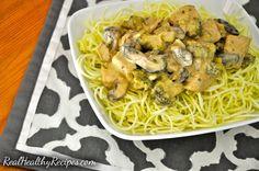 Dairy, Gluten and Grain free recipe for creamy chicken and mushroom pasta.
