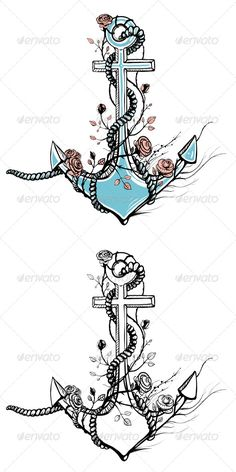 GraphicRiver Romantic Old Anchor with Roses Black Ink 4936708