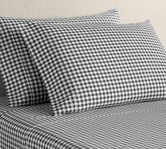 Black Gingham Organic Brushed Cotton Sheet Set #potterybarn