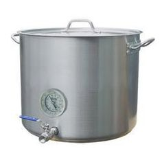 """15 Gal Home Beer Brewing Kettle w/ Valve & Thermometer by Home Brew Stuff. $219.99. All fittings are SS weldless  with 1/2"""" threads and high temp silicone gaskets.. 1/2"""" Full Port Ball Valve. Extra thick!! 1.2 mm thick sidewall and a 5mm thick bottom. 15 Gallon/60 Quart Capacity. 3"""" SS thermometer. Heavy Duty Stainless Steel Kettle 15 gallon size is perfect for full wort boil on 10 gallon batches!  These Heavy Duty stainless steel kettles are thick, hearty, and rea..."""