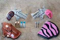 bond arms girl mini ~ this gun has a slightly smaller barrel and pink grips ~ barrel, long ~ multiple calibers ~ love this gun Pink Guns, Pistol Annies, Love Gun, Gun Holster, Hunting Gear, Guns And Ammo, Concealed Carry, Self Defense, Girls Be Like