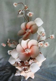 "Shell Flower Arrangement Art Conch Pink Mauve 18-20"" Seashell nautical seashore"