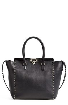 Valentino 'Rockstud - Noir' Double Handle Leather Tote available at #Nordstrom
