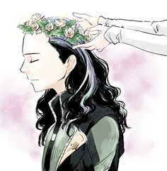 Loki with flower crown <<< Don't usually pin these but this one's really nice