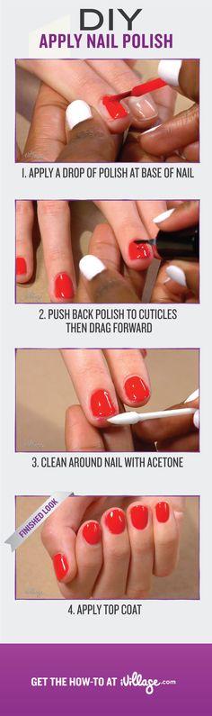 Learn the correct way to apply nail polish. #diy http://www.ivillage.com/how-apply-nail-polish/5-h-506702?cid=pin|nails|howtoapplypolish|1-18-13
