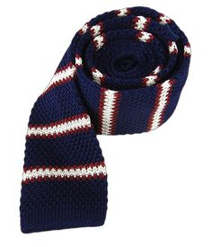 KNITTED FINE STRIPE TIES - NAVY | Ties, Bow Ties, and Pocket Squares | The Tie Bar