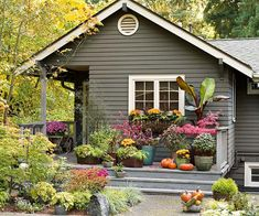 Container gardens add a welcoming feel and curb appeal