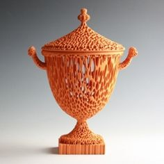 "Michael Eden @ Adrian Sassoon - London. An Orange Wedgwoodn't Tureen, 2011    Made by Additive Layer Manufacturing from a high quality nylon material with mineral soft coating    Height 35cm (13 3/4"") Width 25cm (9 7/8"") Depth 14 cm (5"")"