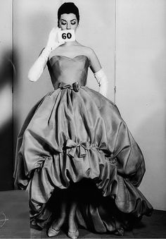 Summer 1958    Balenciaga house model in a turquoise silk and gauze evening gown
