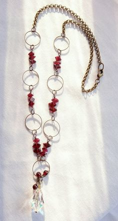 Garnet and vintage crystal wire-wrapped necklace