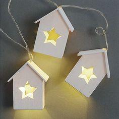 Lichterkette HAUS weiß aus Holz beleuchtete Holzhäuser mit Stern Weihnachten