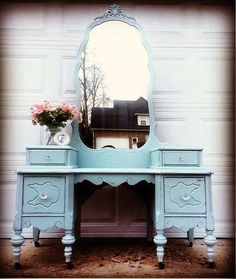 """""""Darling shabby antique dressing vanity! My client requested General Finishes Persian Blue Milk Paint mix with glass knobs so pretty!"""" - Shabby Accent Living"""