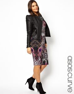 ASOS Curve | ASOS CURVE Exclusive Body-Conscious Dress In Chain Print In Longer Length at ASOS